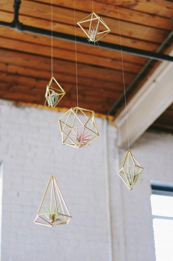 Gemini astrology home decor guide   Gold geometric air plant hangers   Girlfriend is Better