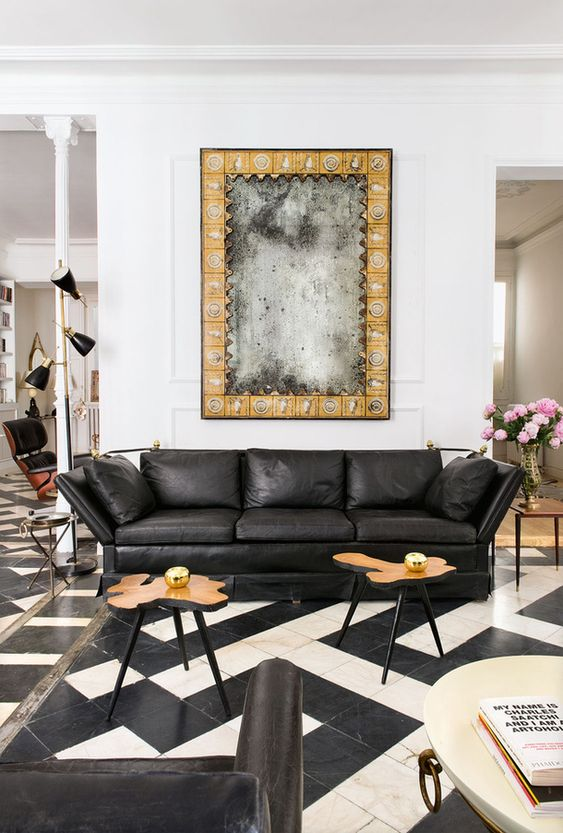 Gemini astrology home decor   Black and white living room tile leather sofa   Girlfriend is Better