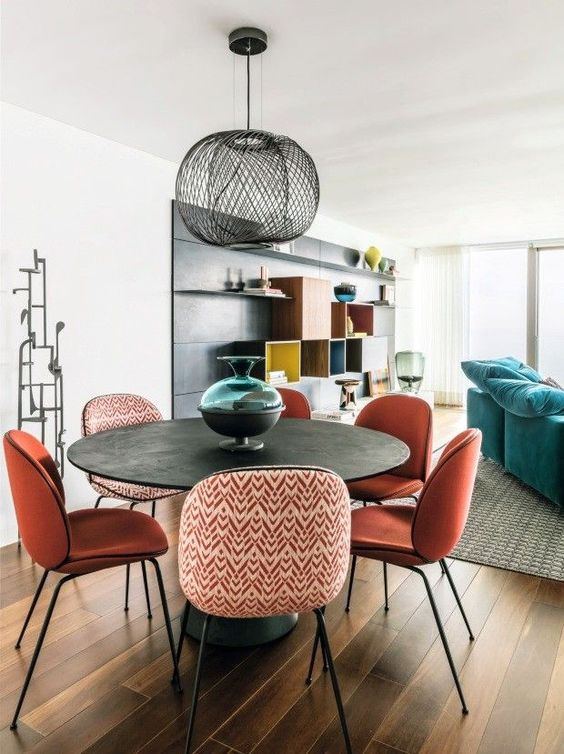 Gemini astrology home decor guide   Bohemian dining room table orange chairs   Girlfriend is Better