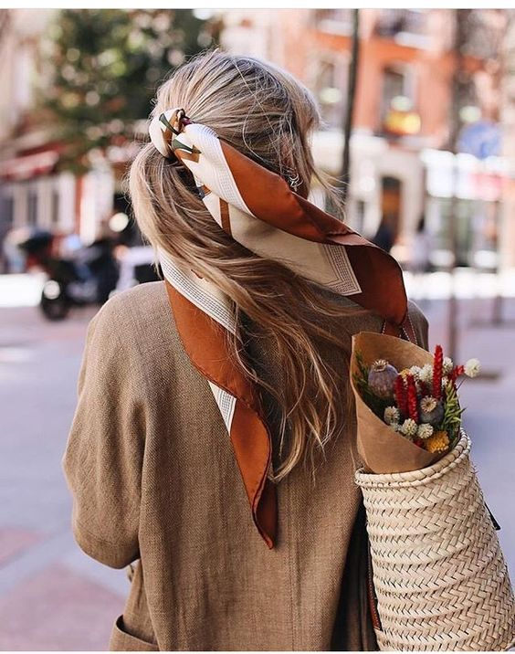 French girl ponytail hair scarf   Girlfriend is Better