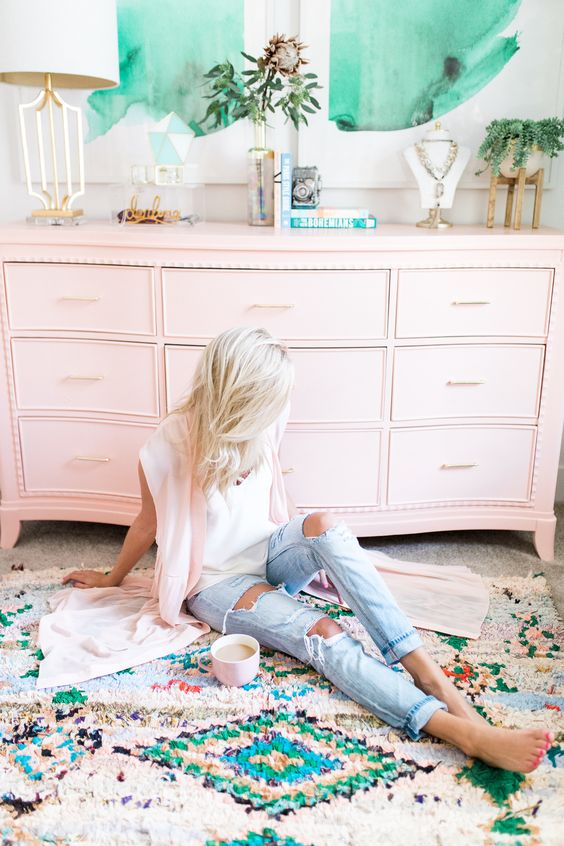 Bohemian home office | Moroccan area rug pink cabinets | Girlfriend is Better