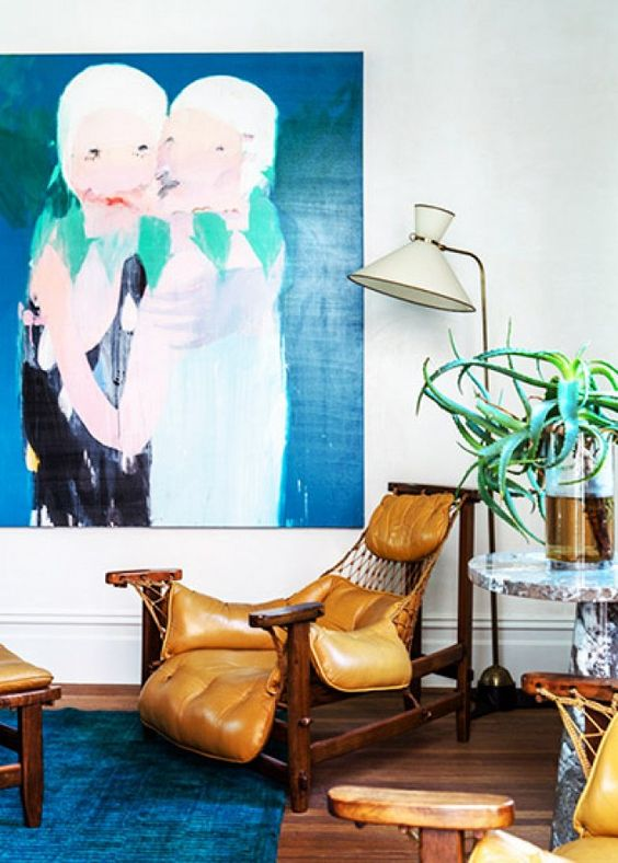 Water element Feng Shui | Mexican modernism leather chair abstract art | Girlfriend is Better