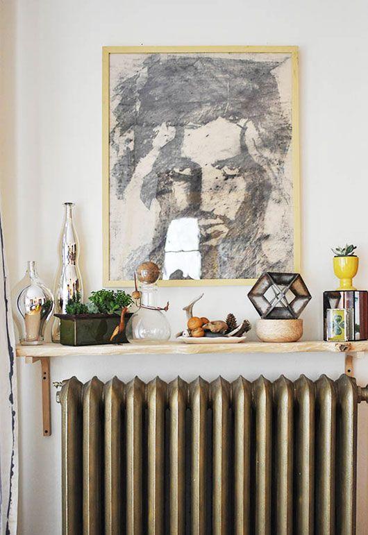 Cancer astrology home decor   Shelf above radiator portrait art   Girlfriend is Better