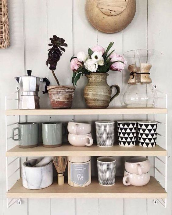 Cancer astrology home decor   Open shelving vintage mugs pottery   Girlfriend is Better