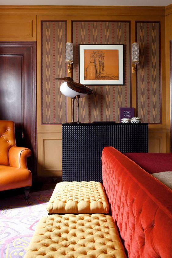 Orange sofas tufted sctionals Bohemian decor   Girlfriend is Better