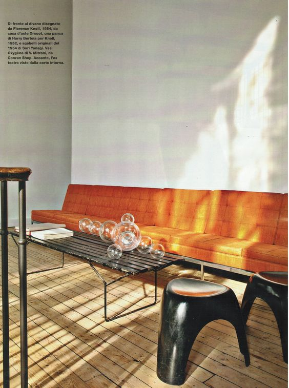 Orange sofas mid-century modern living room   Girlfriend is Better