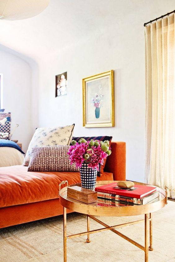 Orange sofas chaise Spanish style bedroom   Girlfriend is Better