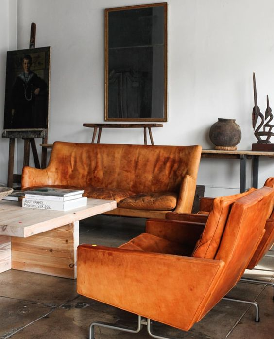 Orange sofas leather loveseat living room   Girlfriend is Better