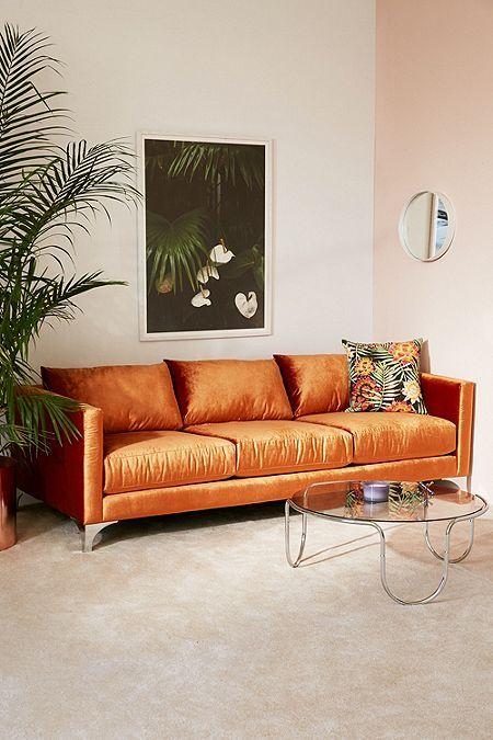 Orange sofas velvet upholstery   Girlfriend is Better