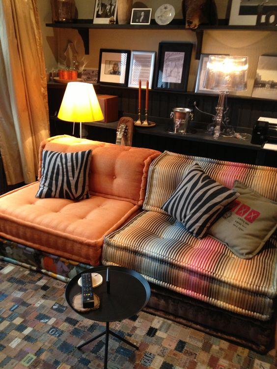 Mah Jong orange sofas tufted sectional   Girlfriend is Better