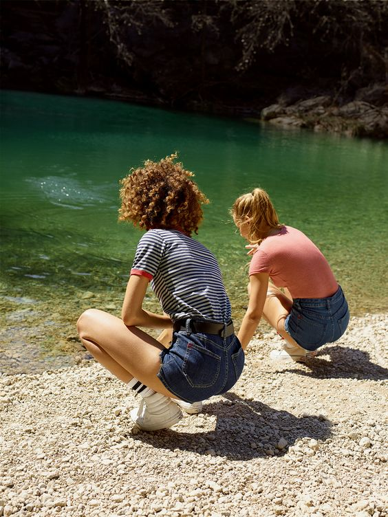 Summer camp fashion 70s inspired   high-waist shorts striped tees   Girlfriend is Better
