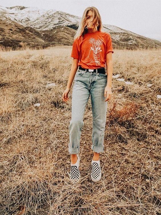 Summer camp fashion 70s inspired   Orange tee boyfriend jeans checkered Vans   Girlfriend is Better