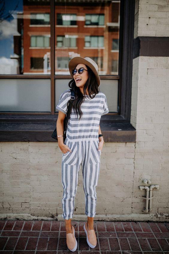 Striped navy summer jumpsuits   Girlfriend is Better