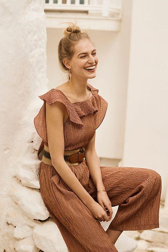 Terracotta summer jumpsuits ruffles   Girlfriend is Better