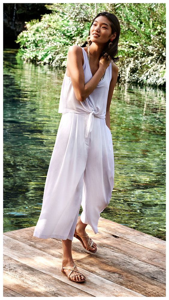 All white tie front summer jumpsuits wide leg pants   Girlfriend is Better