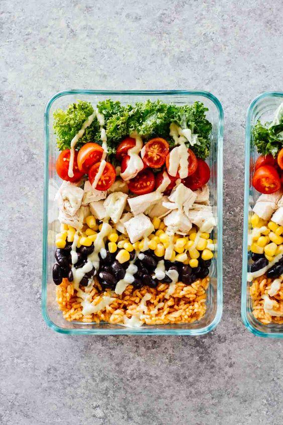 Meal Prep Southwest Chicken Burrito Bowls   Healthy recipes gluten-free   Girlfriend is Better