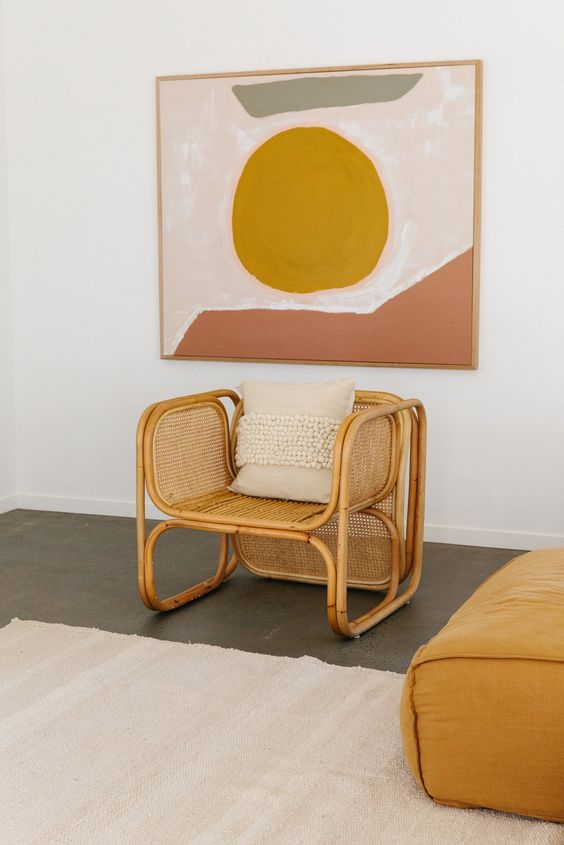Leo astrology home decor guide   Graphic art gold sun bamboo chair Pampa cushion   Girlfriend is Better