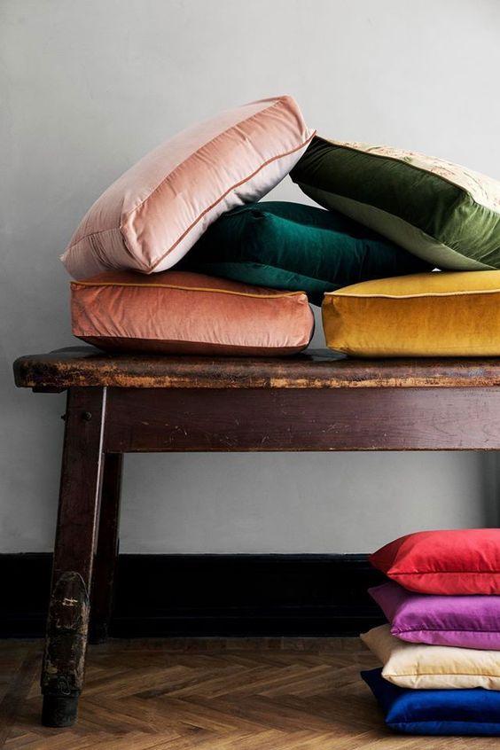 Leo astrology home decor guide | multi color velvet cushions | Girlfriend is Better