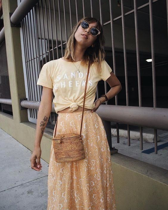 Floral midi skirts   graphic tee straw bag sunglasses   Girlfriend is Better