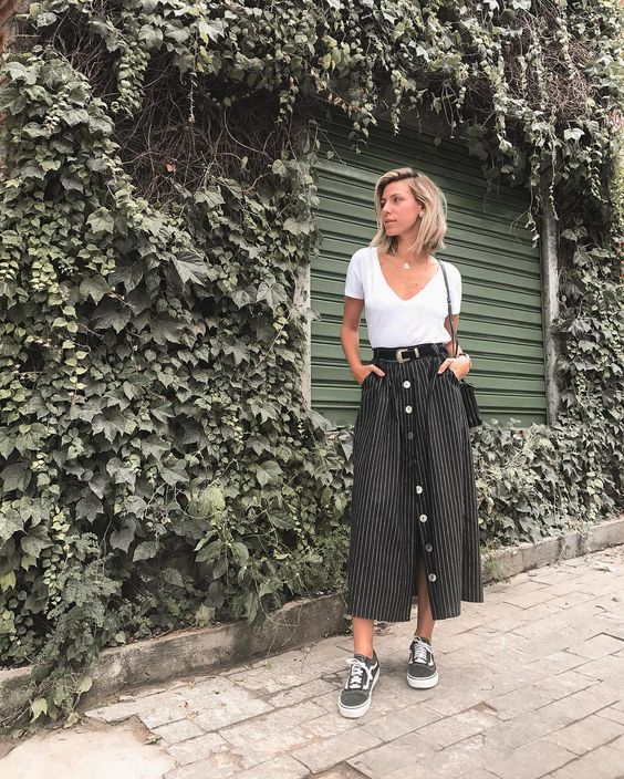 Striped midi skirts button front | white v-neck tee Vans | Girlfriend is Better