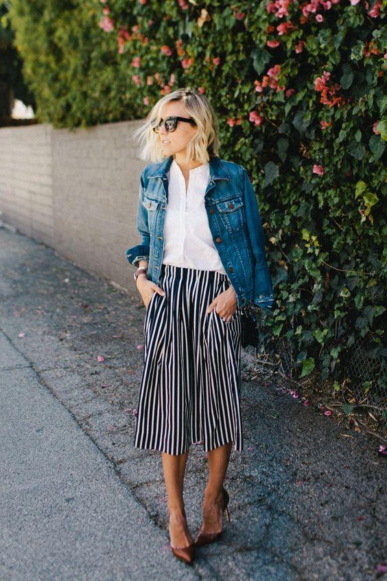 Striped midi skirts | white blouse denim jacket | Girlfriend is Better