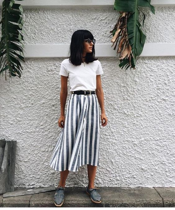 Belted striped midi skirts white tee | Girlfriend is Better