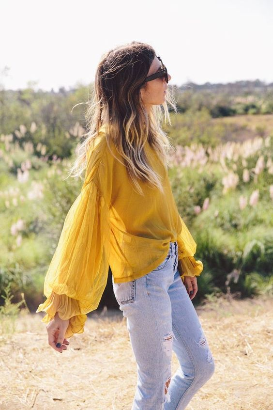 Mustard sheer blouse puff sleeves   Girlfriend is Better