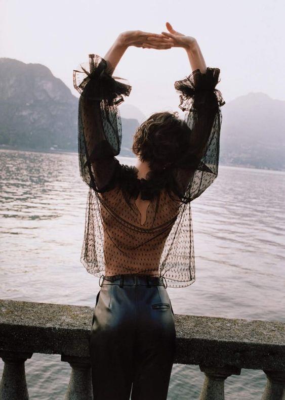 Polka dot sheer blouse black ruffled sleeves | Girlfriend is Better