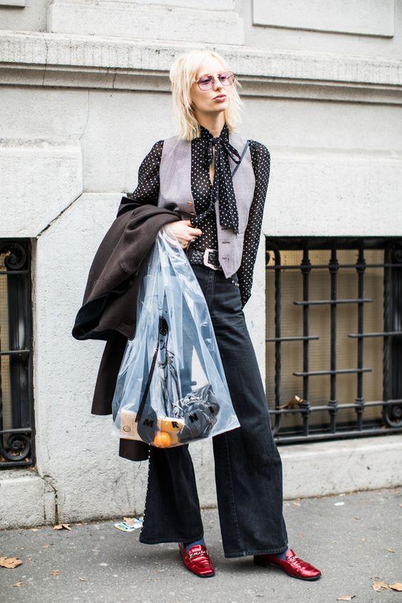 Sheer blouse lavender vest bell bottoms work wear | Milan Fashion Week F/W 2018-2019 | Girlfriend is Better