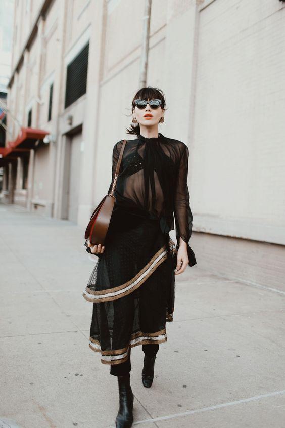 Black sheer blouse texture skirt layering | Girlfriend is Better