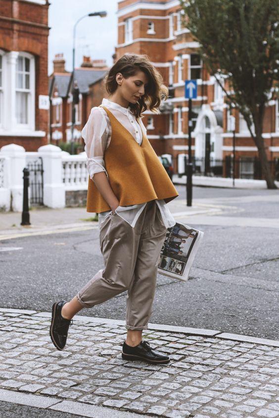 Sheer blouse mustard wool vest | Girlfriend is Better