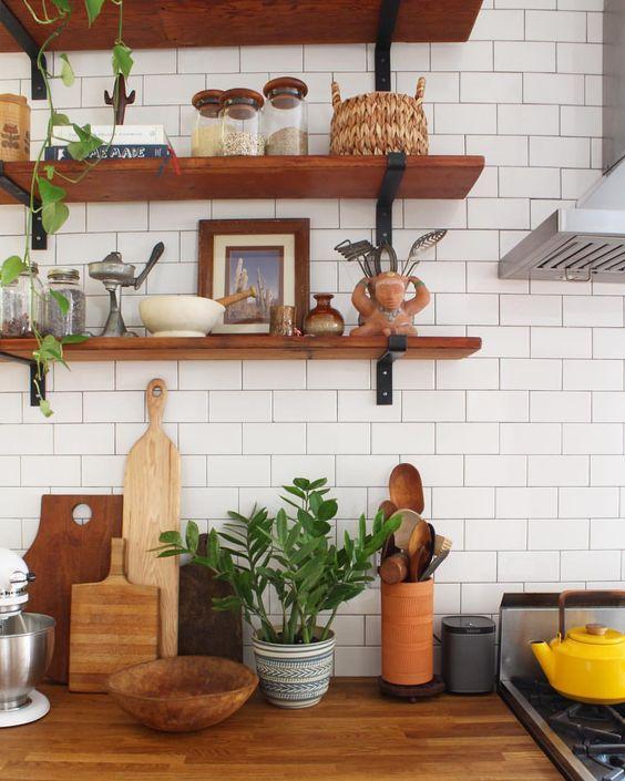 Summer Hygge entertaining open shelving kitchen white tile | Girlfriend is Better