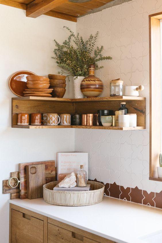Summer Hygge Joshua Tree kitchen open corner shelving | Girlfriend is Better
