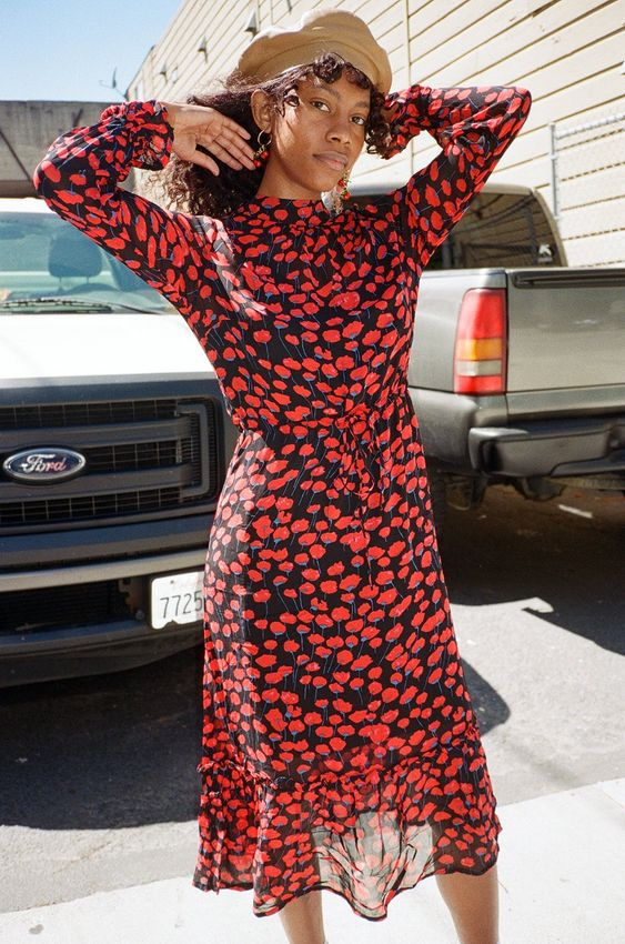 Red floral country dresses   French girl cool tab beret   Girlfriend is Better