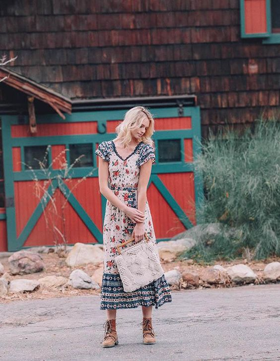 Feminine country dresses   Floral print ruffles boots   Girlfriend is Better