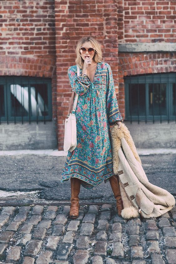 Teal country dresses floral print   cowboy boots Bohemian gypsy  Girlfriend is Better