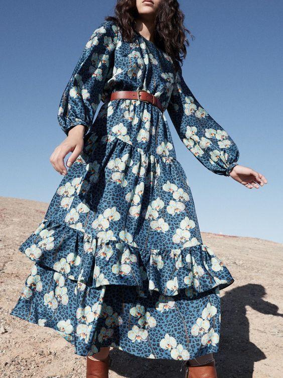 Blue floral country dresses   belt ruffles bishop sleeves   Girlfriend is Better