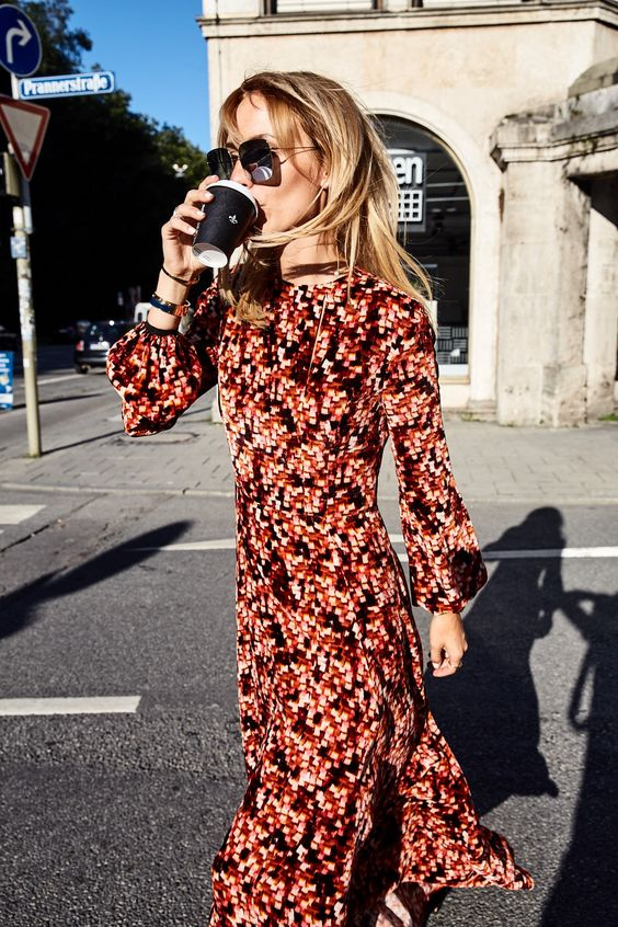 Red floral country dresses   black boots bishop sleeves   Girlfriend is Better