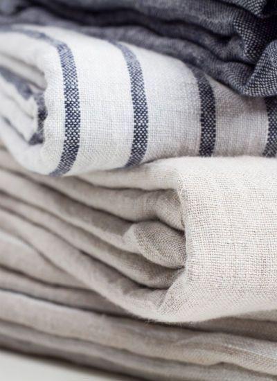 Striped linen bedding   blankets neutrals   Girlfriend is Better