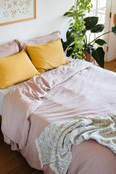 French linen bedding   100% flax duvet set pink pillow shams   Girlfriend is Better