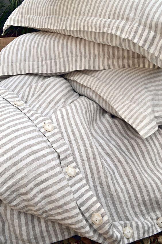 Pinstriped linen bedding   stonewashed duvet cover pillow shams   Girlfriend is Better
