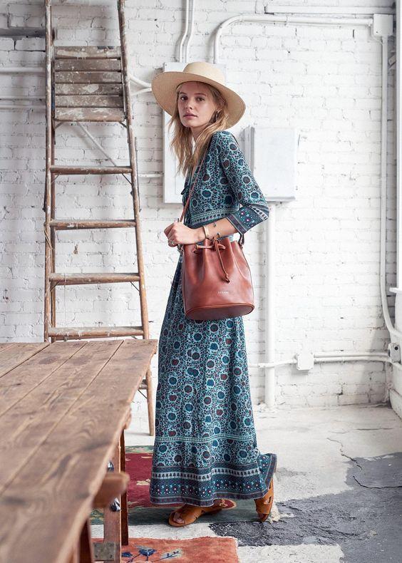 Ranch style floral maxi dress bucket bag cowboy hat   Girlfriend is Better