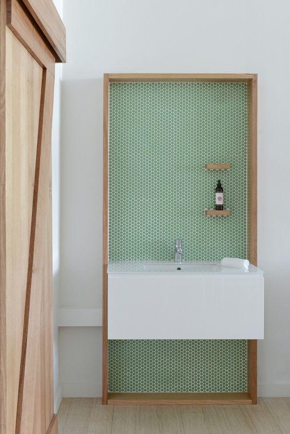 Virgo astrology home decor guide | green bathroom tile mid-century modern | Girlfriend is Better