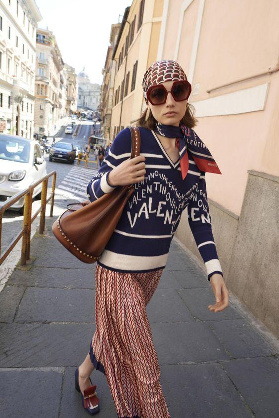 Bourgeois Bohemian head scarf midi skirt sweater | Girlfriend is Better
