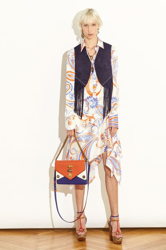 Bourgeois Bohemian suede fringe vest floral print dress color blocked purse | Girlfriend is Better