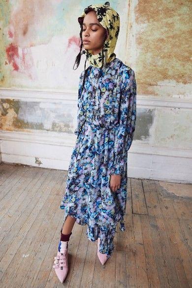 Bourgeois Bohemian floral midi dress socks buckles hood | Girlfriend is Better