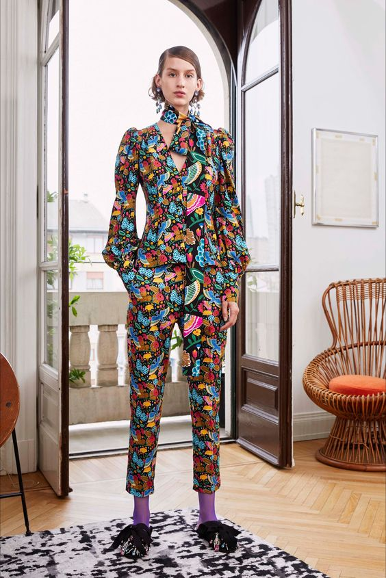 Bourgeois Bohemian floral pant suit neck scarf high water pants | Girlfriend is Better
