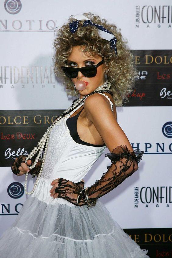 celebrity Halloween costumes   Madonna Material Girl   slips lingerie   Girlfriend is Better