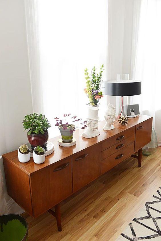 sideboard styling mid-century modern   plants vintage lamps   Girlfriend is Better