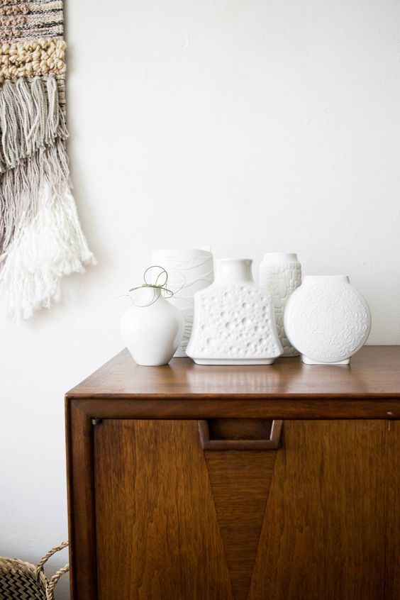 sideboard styling mid-century modern   vintage white contemporary vases   Girlfriend is Better